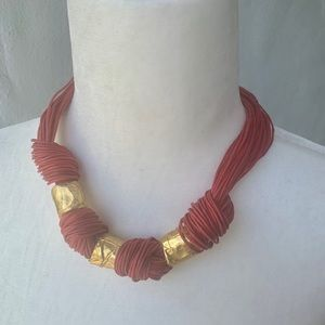 Jewelry - Red leather necklace with Gold Links